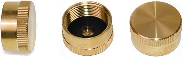 DozyAnt Pack of 3 Solid Brass Refill 1 LB Propane Bottle Cap Gas Tank Cylinder Sealed Cap - 3 pcs