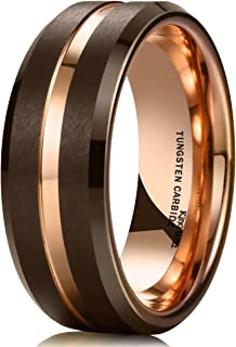 Duo 8mm Brown Brushed Tungsten Carbide Wedding Band Ring Thin Rose Gold Groove Comfort Fit