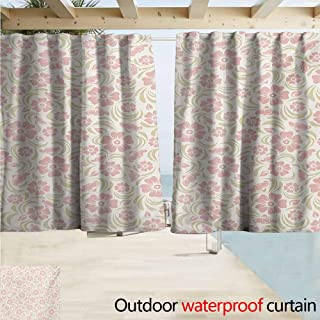 XXANS Thermal Insulated Window Draperies Flower Vintage Old Fashioned Floral Pattern Silhouettes Briar Shrubs Roses Retro,W84x72L Inches,Themed Illustration Curtain Rose Pale Green White