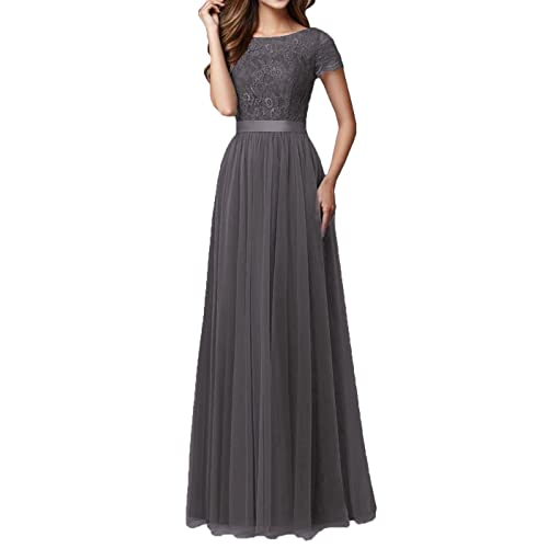 16bd09221bf5 DYS Women's Lace Bridesmaid Dress Sleeves Tulle Prom Evening Dresses Long