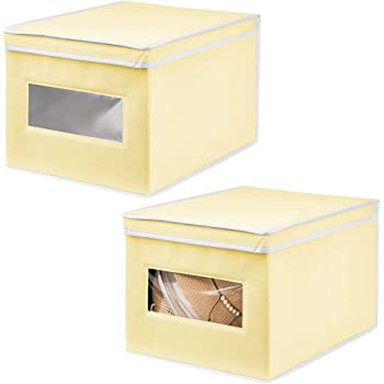 mDesign Juego de 2 Cajas de Tela – Práctico Organizador de armarios con Tapa para Dormitorio, salón o baño – Caja de almacenaje apilable de Fibra sintética Transpirable – Amarillo Claro/Blanco: Amazon.es: Hogar
