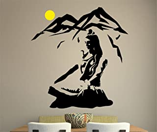 kinmes Wall Stickers Art Decor Vinyl Peel and Stick Mural Removable Decals Lord Shiva Yoga Lotus Pose Mountain Hindu God for Living Room