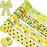 24 Yardas de Cinta de Borde con Alambre de Limón Cinta de Arpillera de Verano de 2,5 Pulgadas de Ancho Cinta a Cuadros de Limón Cinta Decorativa de Limón para Corona Arreglos Florales