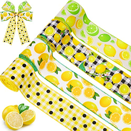 4 Rolls Lemon Wired Edge Ribbon 2.5 Inches x 24 Yards Summer Spring Burlap Ribbon Lemon Gingham Check Ribbon Wide Decorative Lemon Ribbon for Wreaths Wrapping Floral Arrangements and Crafting