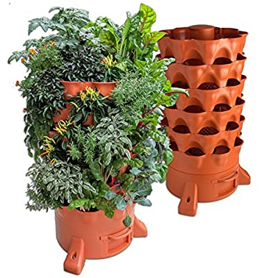 Garden tower filled with herbs