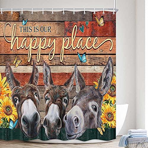 Lustiger Esel-Duschvorhang für Badezimmer, niedliches Bauernhof-Tier-Bauernhaus, Sonnenblumen-Stoff-Duschvorhänge-Set mit Worten, rustikale Scheunentür, WC-Dekoration, Zubehör mit Haken, 72 x 72 cm