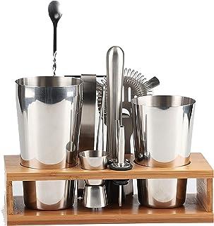 RSBCSHI Cocktail Setting Cocktail Shaker Set avec Support d'affichage, Set d'outils de Barre d'acier Inoxydable Kit de Bar...