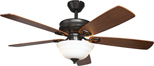 Hyperikon 42 Inch Ceiling Fan, with Remote, Classical Style, Brown, 5 Reversible Blades and Frosted Dome Light