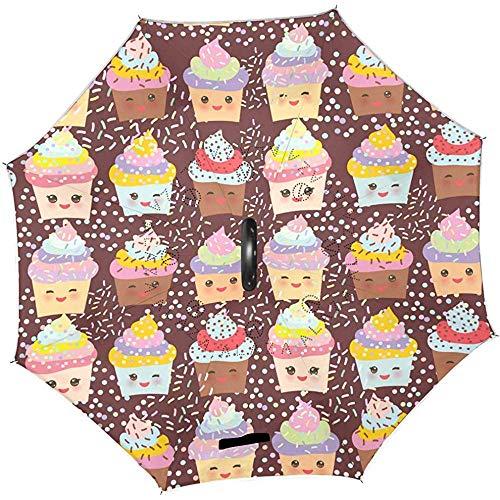 Emoticons Reverse Umbrella Cute Cupcake Inverted Umbrellas Winddichter, gerader UV-Schutzschirm