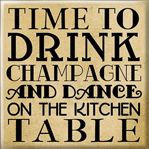 Tijd om Champagne Square Koelkast Magneet drinken - Cadeau-idee