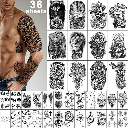 Yazhiji 36 Sheets Temporary Tattoos Stickers, 12 Sheets Fake Body Arm Chest Shoulder Tattoos for Men or Women with 24 Sheets Tiny Black
