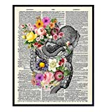 Human Anatomy, Anatomical Poster – 8x10 Dictionary Art Photo, Picture, Print - Wall Art for Women, Doctor Office, Medical Clinic – Shabby Chic Floral Decor, Gift for Nurse, Dr, Physician, Med Student