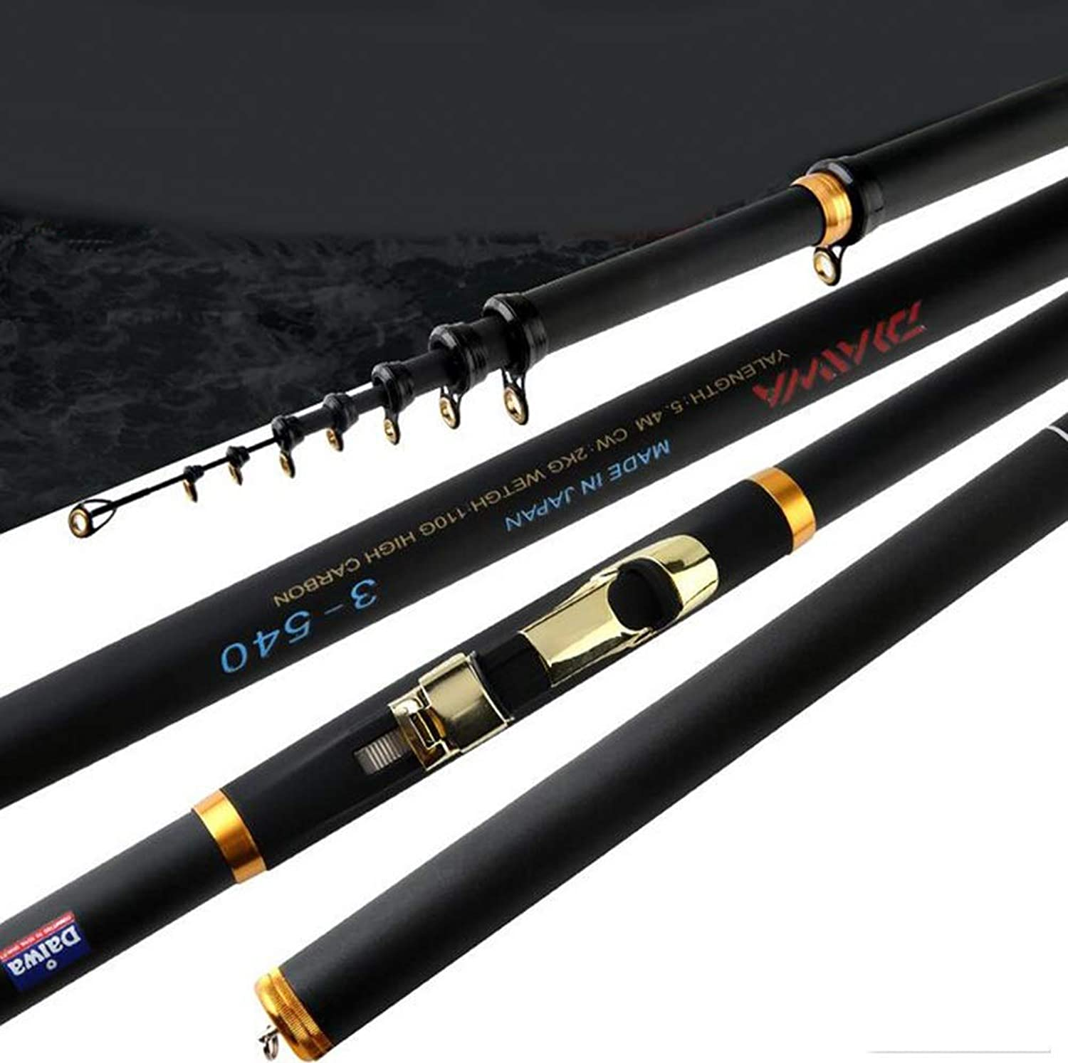 Carbon Positioning Fishing Rod 3.6 4.5 5.4 6.3 Meters UltraLight and Super Hard Comfortable Handle for Sea Black White