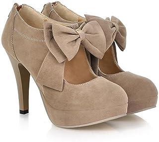 89b6034e194 Milesline Fashion Vintage Womens Small Bowtie Platform Pumps Ladies Sexy  High Heeled Shoes