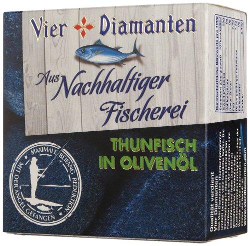 Vier Diamanten Thunfischfilets Olivenöl - Pole & Line (mit der Angel gefangen) - FQSP, 4er Pack (4 x 160 g)