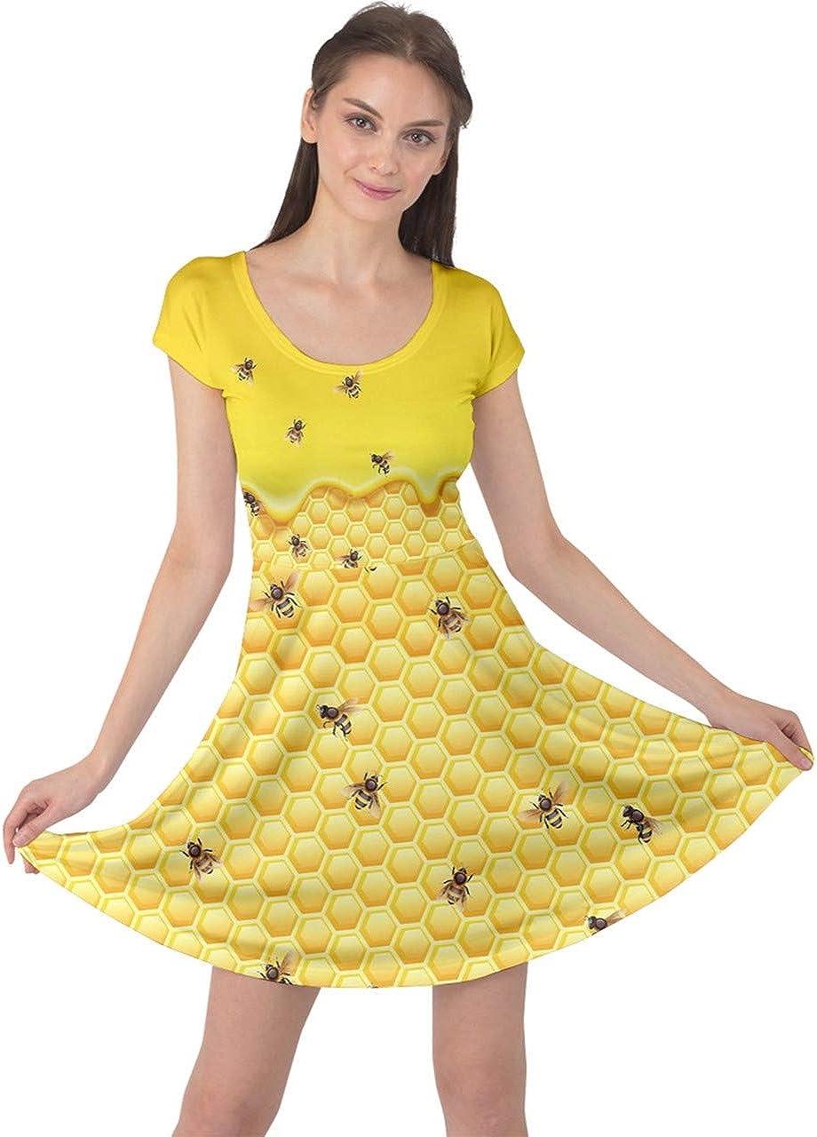 CowCow Womens Bee Honeycombs Honey Dr Honeybee Insect Popular Max 78% OFF standard Cap Sleeve