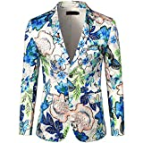 Mens Floral Flower Print Suit Lapel Slim Fit Stylish Blazer Coat Pocket Jacket White