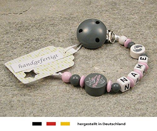 Baby SCHNULLERKETTE mit Namen - Schnullerhalter mit Wunschnamen - Mädchen Motiv kleine Prinzessin in grau