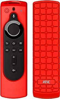 リモコンカバー ATiC 5.6インチ 新登場 Fire TV Stick 4K専用リモコンカバー シリコン製 耐衝撃 防水防塵 Alexa対応音声認識リモコン用保護カバー RED