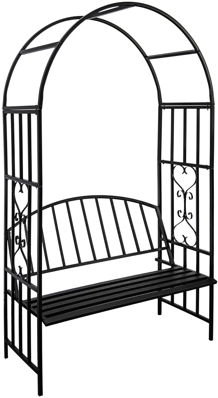 Kinbor Outdoor Garden Arbor Arch Steel Metal with Bench Seat for Climbing Plants