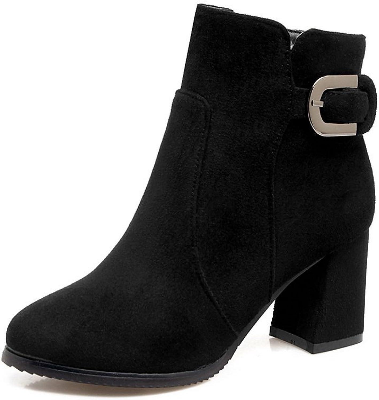 BalaMasa Womens Zipper Fashion Casual Suede Boots