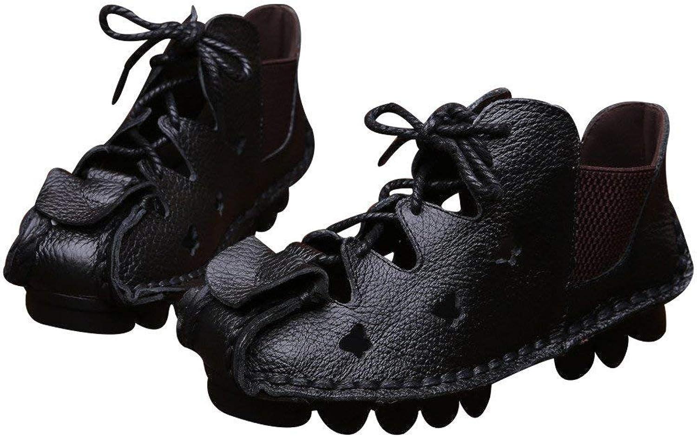 ZHRUI Frauen Frauen Frauen Sommer Sandalen Vintage handgefertigte echtes Leder Wohnungen Schuhe (Farbe   schwarz Schwarz-Art 4, Größe   6 UK)  a5d715