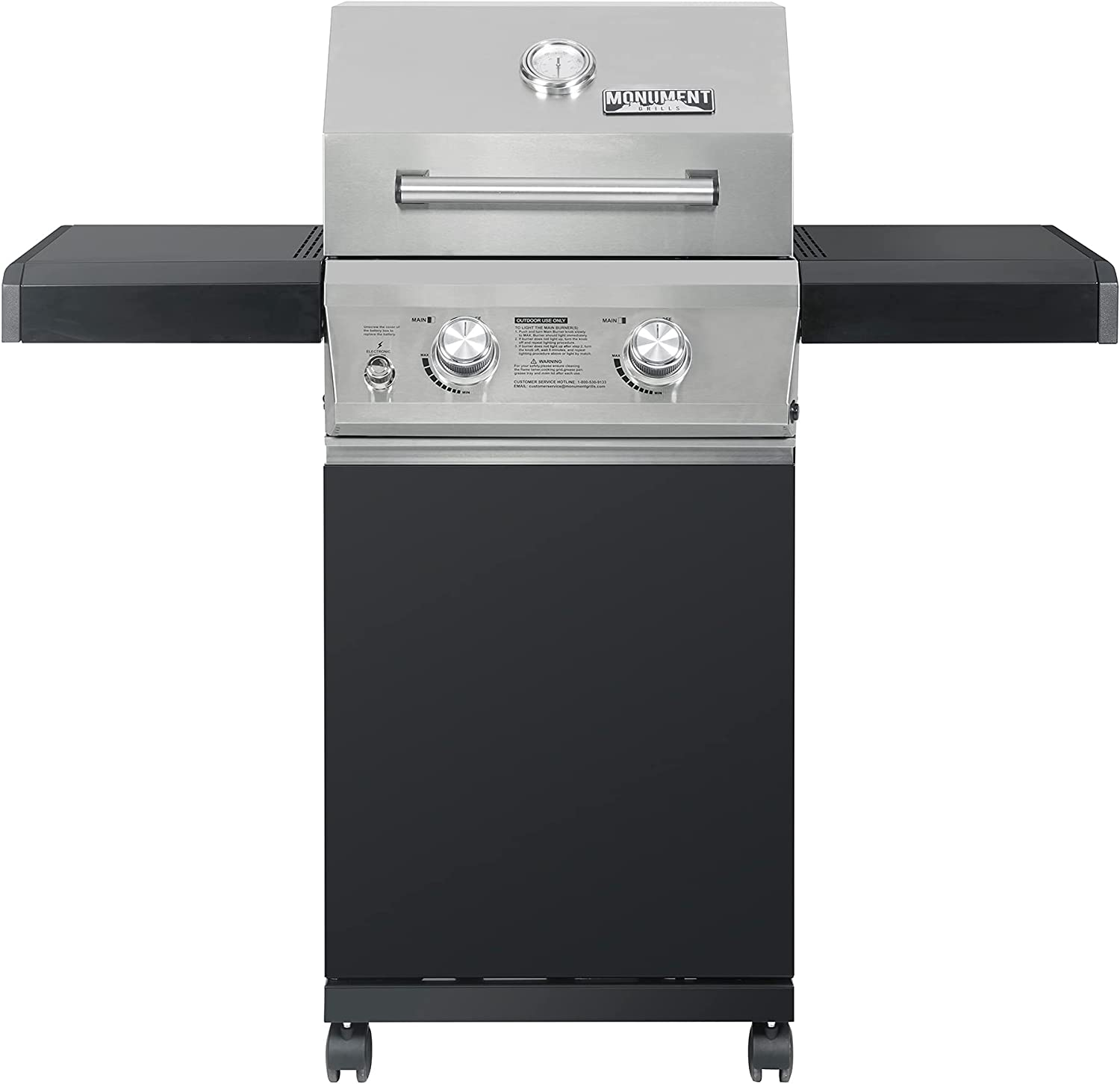 Monument Grills 2 Burners Propane Gas Grill Outdoor Cooking Stainless Steel BBQ Grills