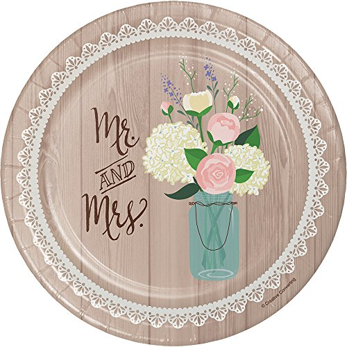 Creative Converting Paper Dessert Plates 8-Count Sturdy Style 7-Inch, Rustic Wedding, 7