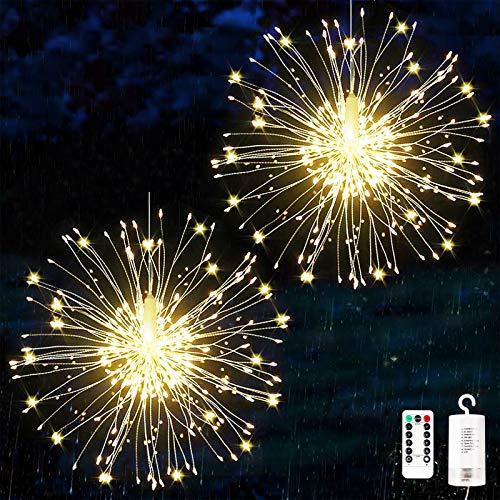 Feuerwerk Lichterketten, 2 Stücke Starburst Lichter Feuerwerk LED Licht Kupferdraht Feuerwerk Lichter Weihnachten Feuerwerk Zeichenfolge 8 Modi wasserdicht mit Fernbedienung