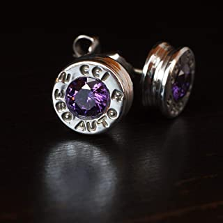 .380 Aluminum Bullet Casing Earrings Purple CZ with Titanium Posts, Hypoallergenic, Nickel Free, Bullet Earring Studs