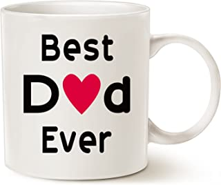 MAUAG Fathers Day Gifts Best Dad Coffee Mug, Best Dad Ever Unique Christmas or Birthday Gifts Idea for Dad Father Papa Daddy Cup White, 11 Oz