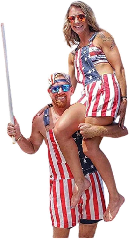 latest Women Men's PatrioticAmerican It is very popular Flag Denim Overalls S Bib