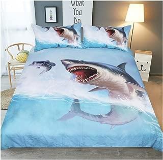 KFZ Bed Set Animals Print (1 Duvet Cover Set+2 Pillowcases) Twin Full Queen King Watercolor Design for Kids Adults Children's Bedding (Sea Shark, Queen,90