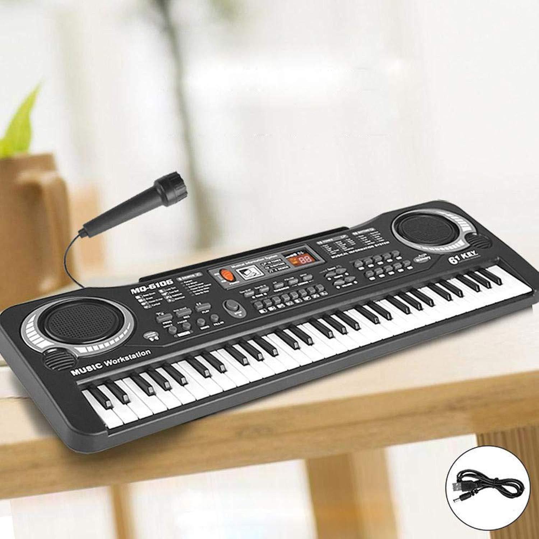DYMAS 61-Tasto Multidivertimentozione dei Capretti con Microfono Tastiera Simulazione Musicale Pianoforte Giocattolo