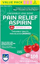 Rite Aid Low Dose 81 mg Aspirin, Chewable Tablets, Cherry Flavor, 3 Bottles, 36 Count Each (108 Count Total)   Pain Reliever   Chewable Aspirin Regimen   Headache Relief Pills   Aspirin 81mg for Adults