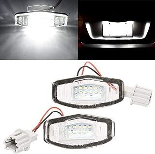 SIZZLEAUTO Car License Plate Light 6000K White Error-Free 18-SMD LED Lamp Bulbs 12V For Honda Civic Pilot Accord Odyssey Acura MDX RL TSX ILX RDX