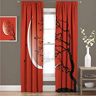 GUUVOR Modern Premium Blackout Curtains Digital Nature Scene with Tree Windy Branches Crescent Moon and Stars Artwork Kindergarten Noise Reduction Curtains W52 x L63 Inch Red Black White