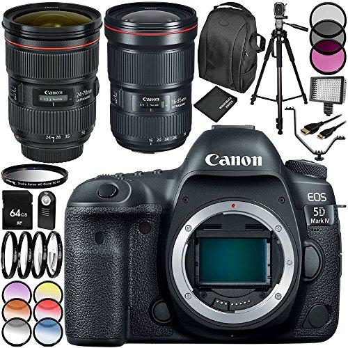Câmera DSLR Canon EOS 5D Mark IV com lente EF 24-70 mm f/2.8L II USM e EF 16-35 mm f/2.8L III USM kit de acessórios 28 peças - Inclui cartão de memória de 64 GB + mais