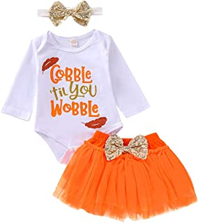 Thankgsgiving Outfits Set Baby Girls Gobble 'Til You Wobble Long Sleeve Romper + Pleated Tutu Skirts