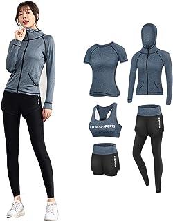 comprar comparacion CrisKat Conjunto de Ropa Deportiva para Mujer Top de Running de Manga Corta de 2 Piezas Pantalones de Cintura Alta Yoga Gy...