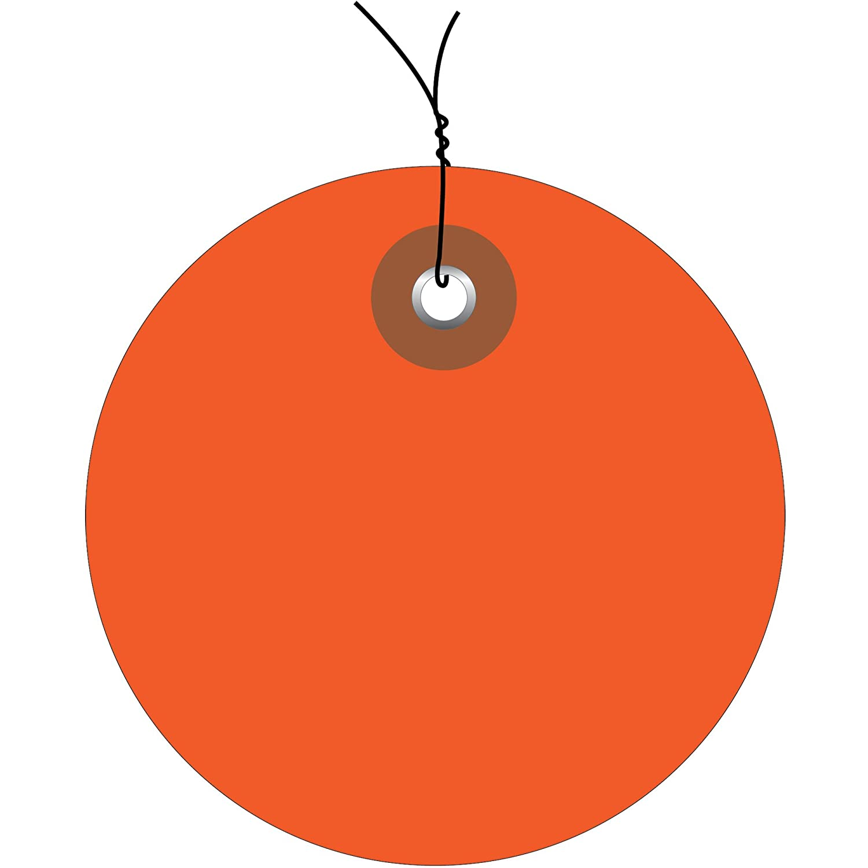 Orange Plastic Circle Tags, Wired, 3