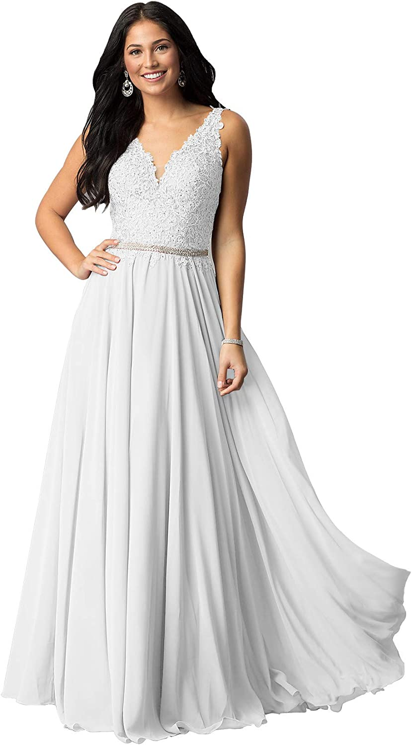 Women's V Neck Lace Bodice Formal Branded Columbus Mall goods Long Chiffon Prom Evening Gown