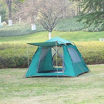 Outsunny Tente Pop up Montage instantané - Tente de Camping 3-4 pers. - 2 Portes + 2 fenêtres - dim. 2,1L x 2,1l x 1,4H m Fibre Verre Polyester Oxford Vert Turquoise