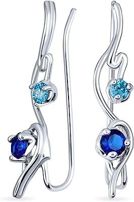 Swirl Wire Ear Pin Climbers Aqua Blue Cubic Zirconia Orecchini per donna Simulato Zaffiro CZ Crawlers Sterling Silver