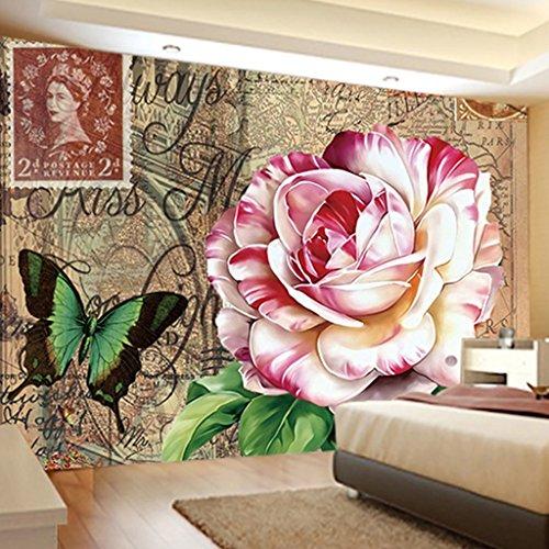CDXZRZYH Mariposa China peonía Flor 3D Tapiz Impreso, 100% poliéster Tejido Rectángulo Pared Colgante decoración fotografía Fondo paño (Size : 200 * 150cm (79 * 59inch))