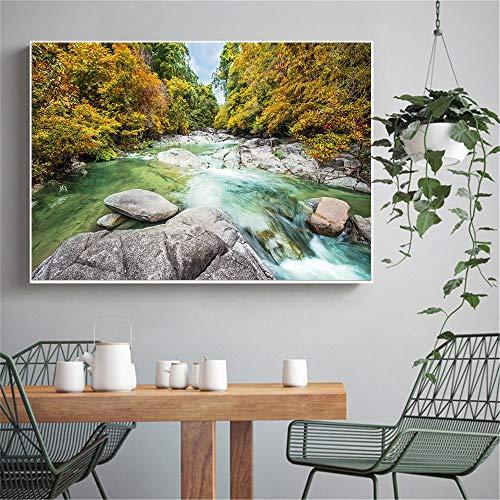 KWzEQ Impresión en la Pared montaña río Cascada otoño Paisaje árboles forestales en Lienzo Paisaje cartel80X120cmPintura sin Marco