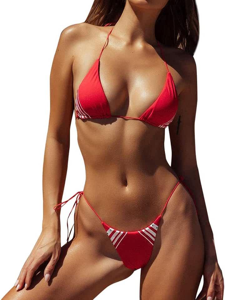 Fashion Women's Striped Print Halter Strap Summer Swimwear 2 Pieces Push Up Swimsuit Revealing Bikinis