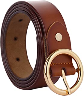 uxcell Women Fashionable Stylish Leather Belt Round Pin Buckle Casual Width 1Inches Brown Fit Waist 31-37 Inches