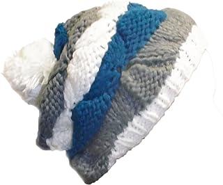 Peach Couture Knit Striped Cozy Warm Cable Knit Winter Crochet Cap Ski Hat Beret