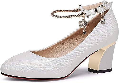 Feaona Chaussures pour Femmes Printemps 2019 Nouvelle Version Version coréenne des Chaussures avec de Petites Chaussures Une Boucle de Mot Talons Hauts épais avec des Chaussures Simples  100% garantie d'ajustement